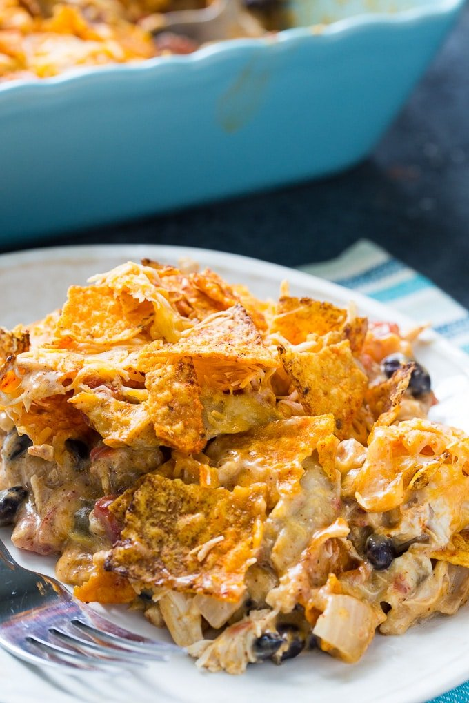 Cheesy Dorito Chicken Casserole is an easy family meal.
