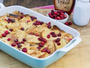 Eggnog French Toast Bake with Cranberries