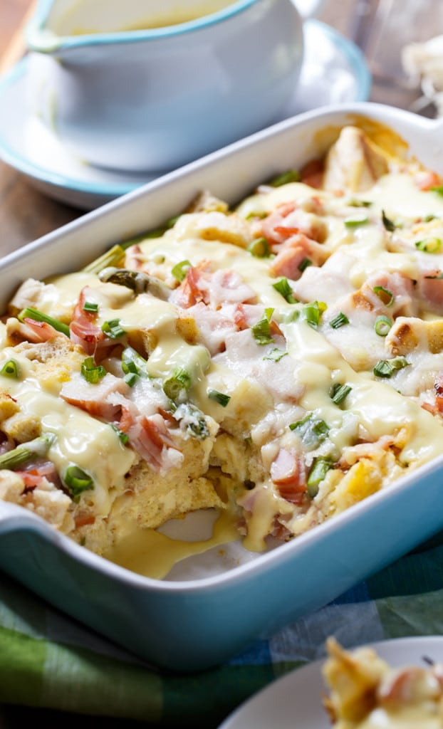 Eggs Benedict Casserole- an easy to make bread pudding that tastes just like Eggs Benedict and feeds a crowd.