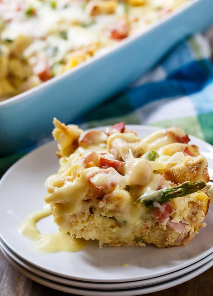 Eggs Benedict Casserole- an easy to make savory bread pudding that tastes just like Eggs Benedict and feeds a crowd.