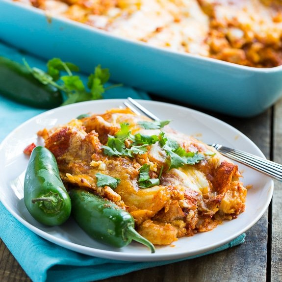 Cheesy, spicy, and delicious Shrimp Enchiladas