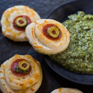 Monster Eyeball Pizzas for Halloween