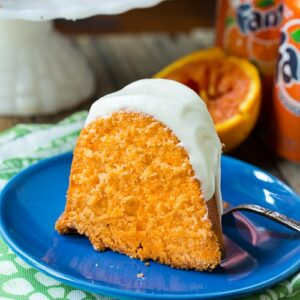 Fanta Pound Cake has a fabulous texture, a slight orange flavor, and a cream cheese icing.