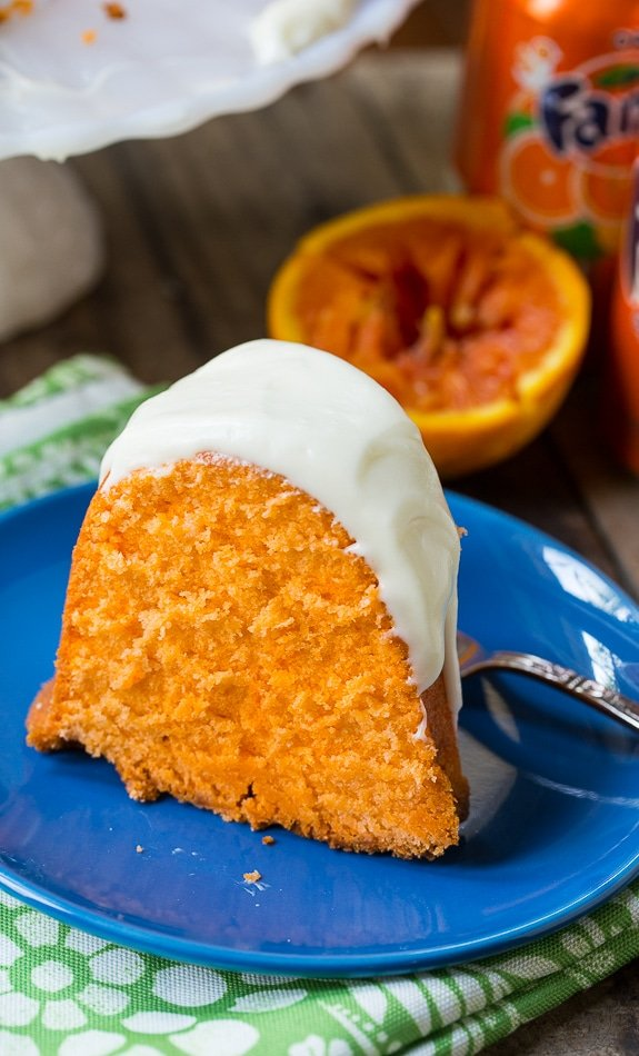 Fanta Pound Cake has an incredible texture, a slight orange flavor, and a cream cheese icing.