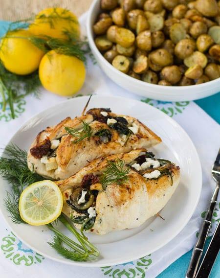 Chicken stuffed with feta and spinach