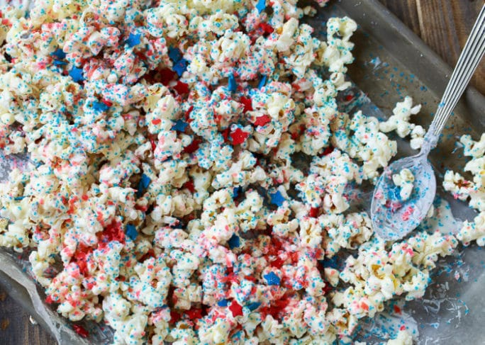 Firecracker Popcorn for the 4th of July. Covered in Pop Rocks Candy.