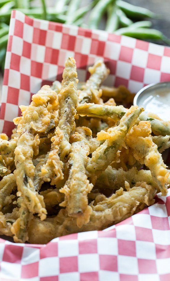 Fried Green Beans double dipped in a super flavorful batter.