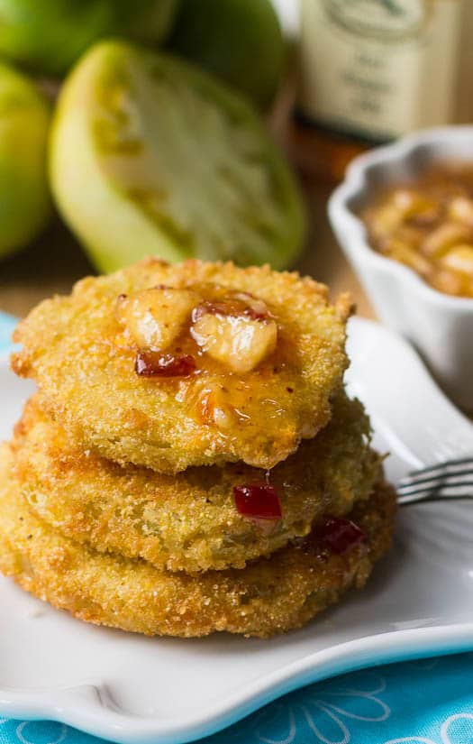 Fried Green Tomatoes with Peach Chutney close-up.