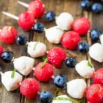 4th of July Fruit Kabobs with watermelon, blueberries, and mozzarella balls.