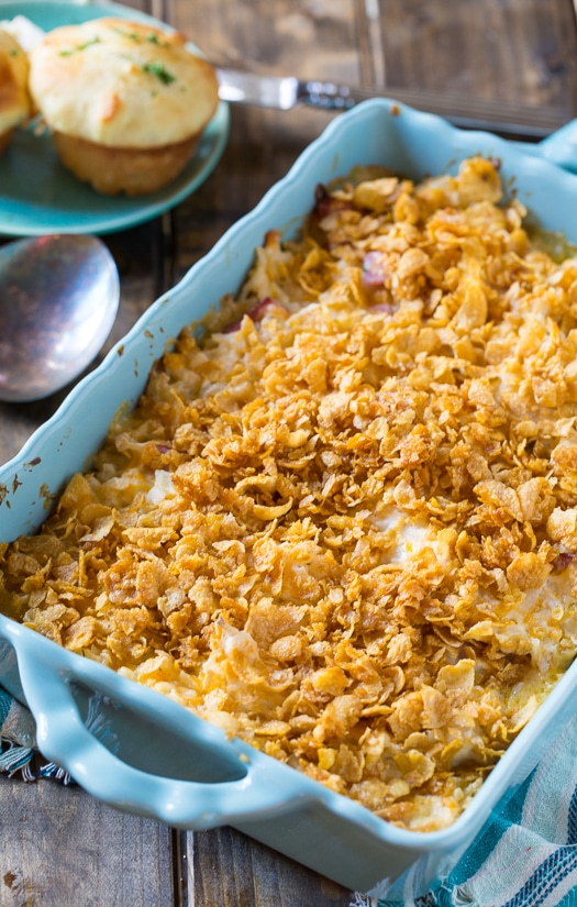 Funeral Potatoes with Ham. This casserole is potato and sour cream heaven!