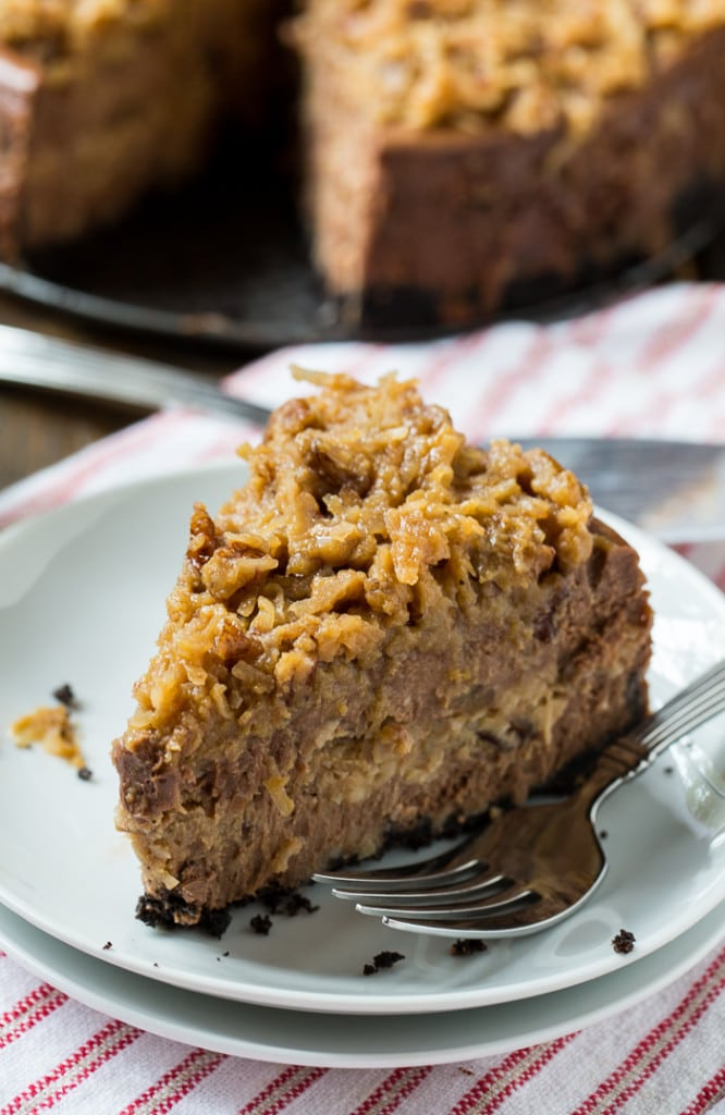 German Chocolate CHeesecake with a gooey coconut-pecan frosting.