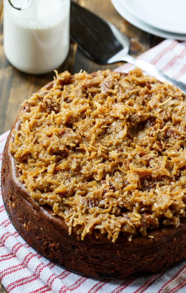 German Chocolate Cheesecake with coconut-pecan frosting.