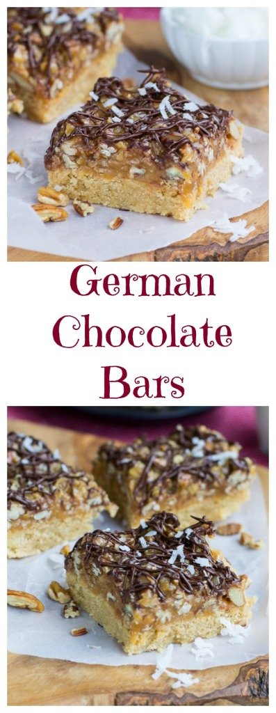 German Chocolate Bars - super easy to make with a shortbread crust and caramel, chocolate, coconut, and pecans on top.