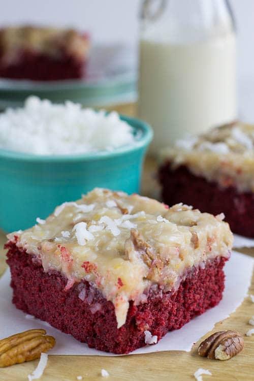 German Chocolate-Red Velvet Cake