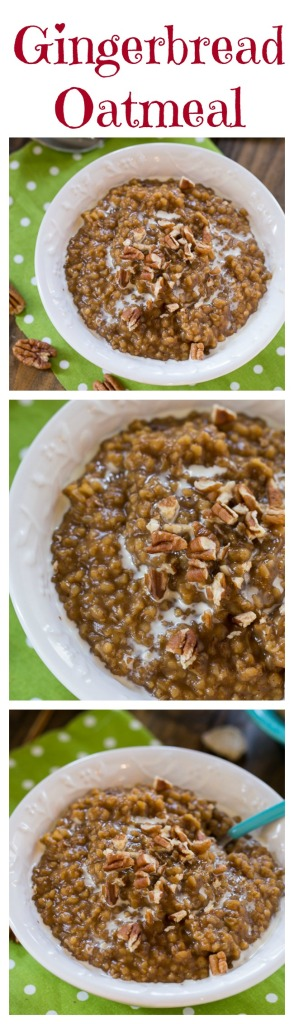 Gingerbread Oatmeal topped with pecans.