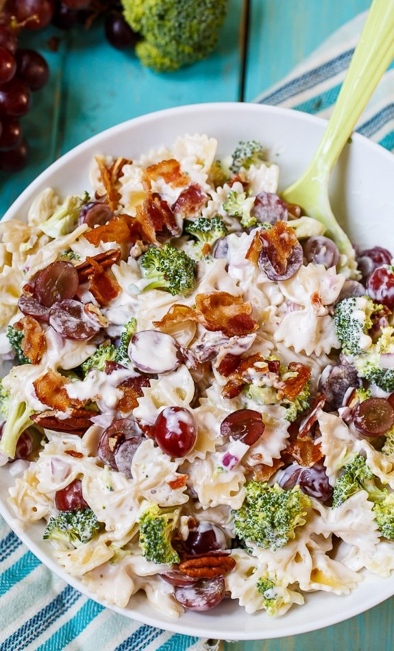 Pasta Salad with grapes, bacon, and broccoli. Perfect blend of sweet and salty.