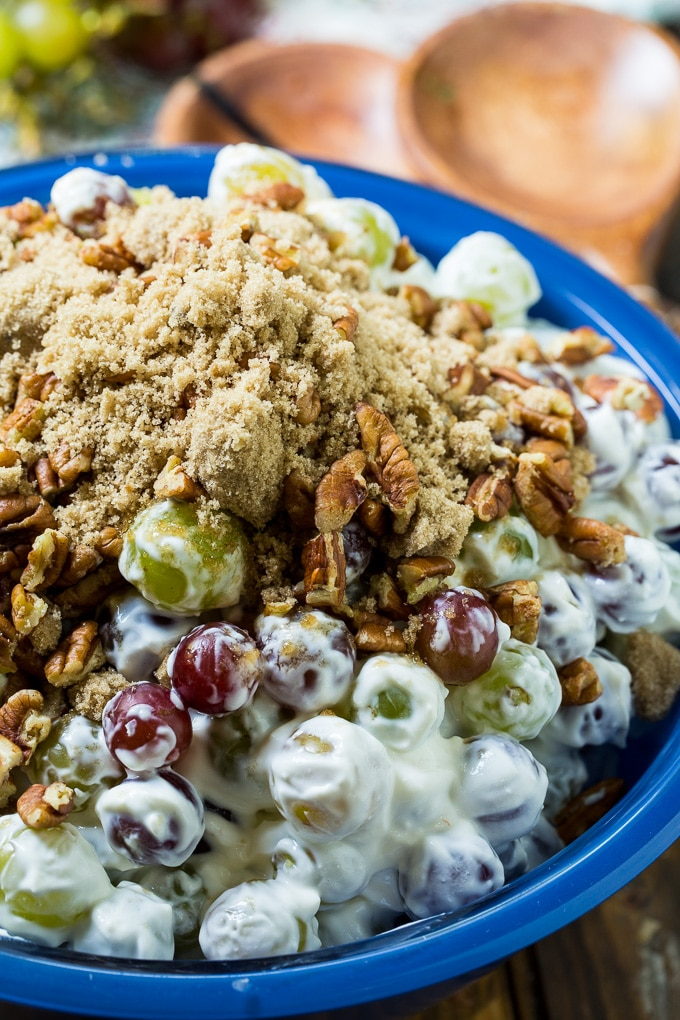 Easy Grape Salad with brown sugar and pecans