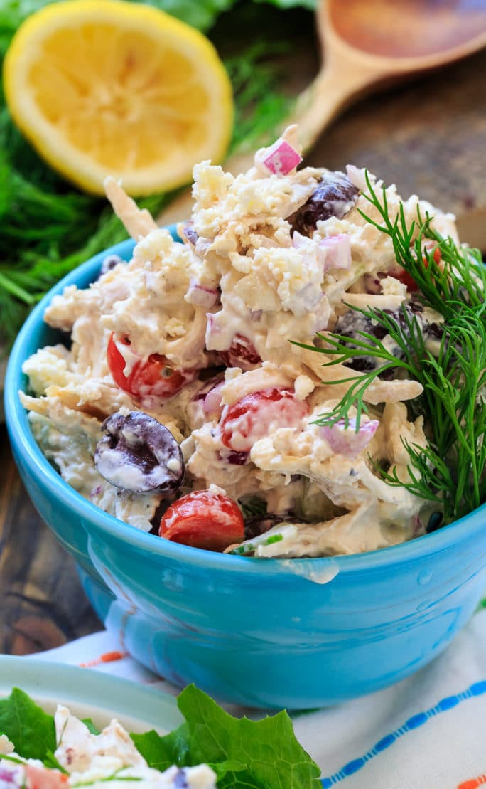 Greek Chicken Salad with feta cheese, kalamata olives, fresh dill, and cucumbers.