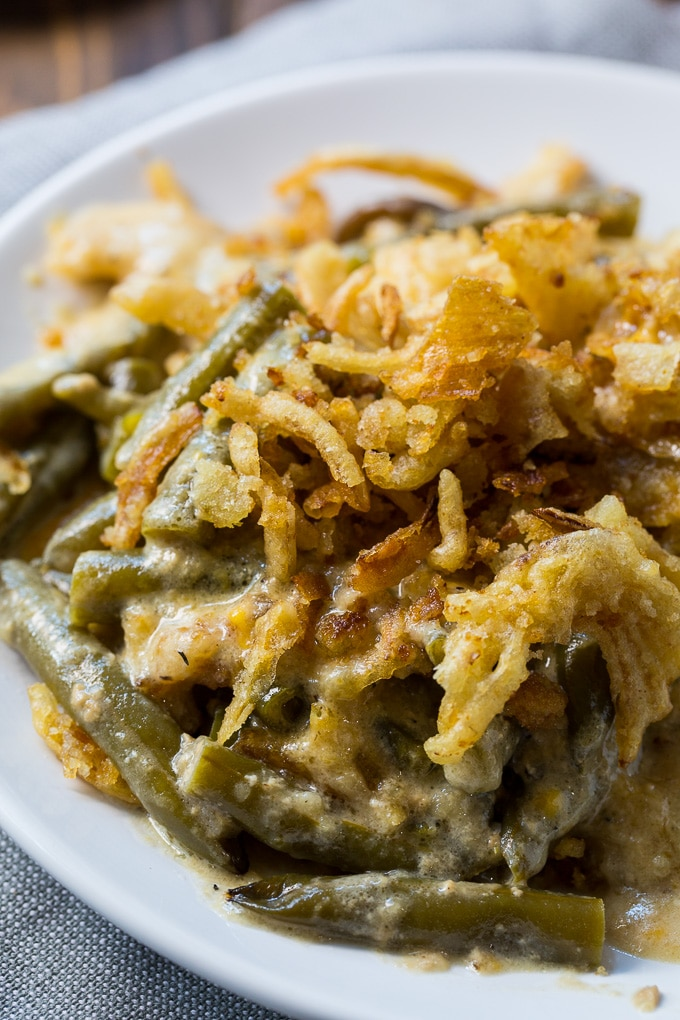 Slow Cooker Green Bean Casserole with a crunchy onion topping