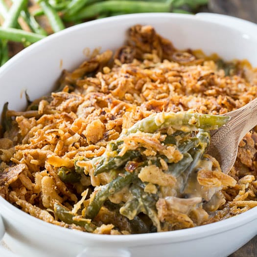 Cheesy Green Bean Casserole - Spicy Southern Kitchen
