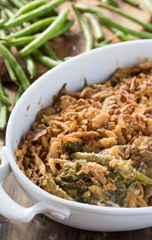 Cheesy Green Bean Casserole with a fried onion topping.