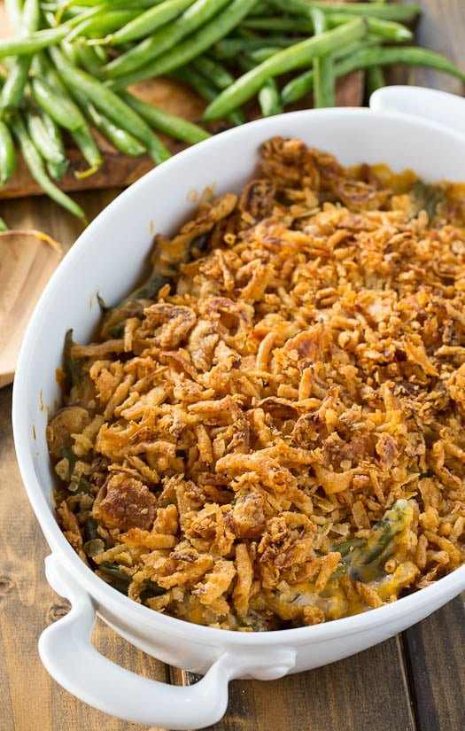 Cheesy Green Bean Casserole with a french-fried onion topping.