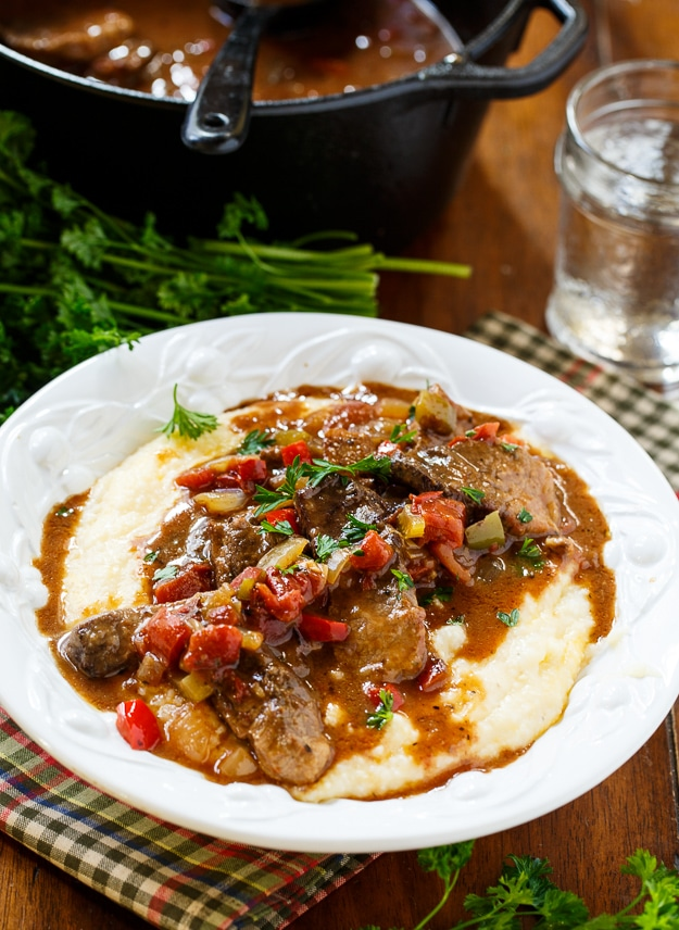 Grillades and Grits - a classic New Orleans brunch recipe.