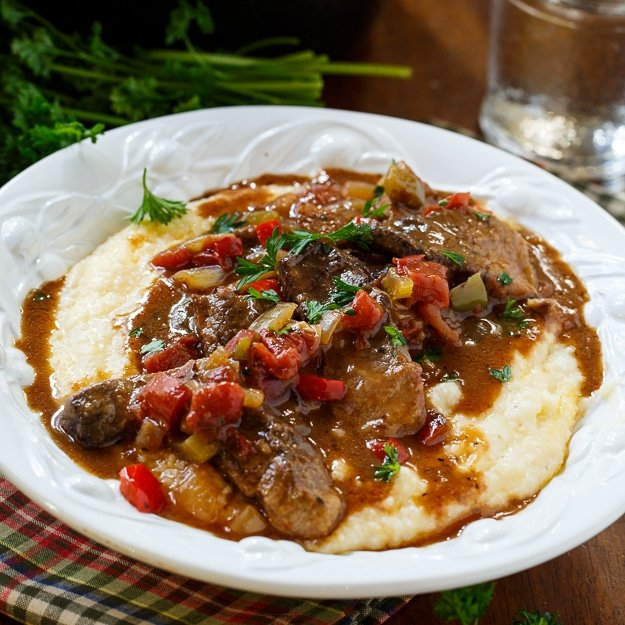 Chicken Grillades And Red Grits Recipe — Dishmaps