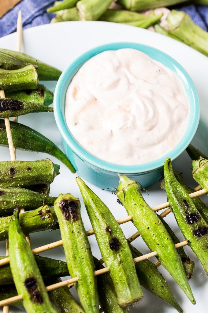 Grilled Okra with Spicy Chipotle Sauce