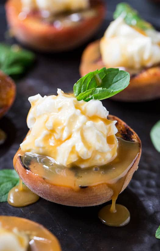 Grilled Peaches with Mascarpone Whipped Cream - Spicy Southern Kitchen