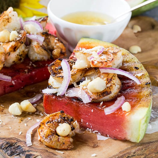 Grilled Watermelon with Tropical Shrimp