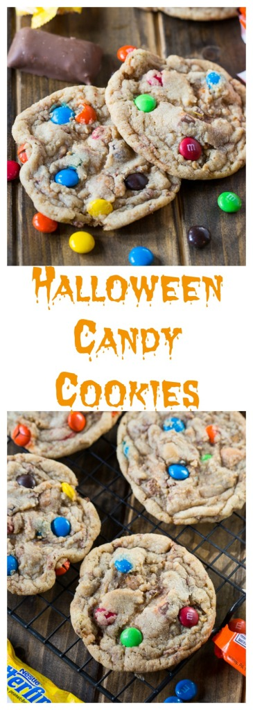 Chop up your excess Halloween candy and add it to an easy dough to make soft and chewy candy cookies.