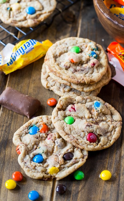 use excess halloween candy to make these soft and chewy candy cookies
