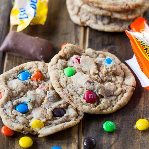 Use excess Halloween candy to make these easy Candy Cookies.