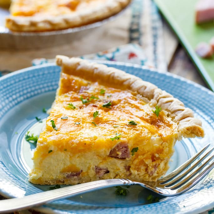 Easy Ham and Cheese Quiche is a rich and cheesy quiche that can be ...