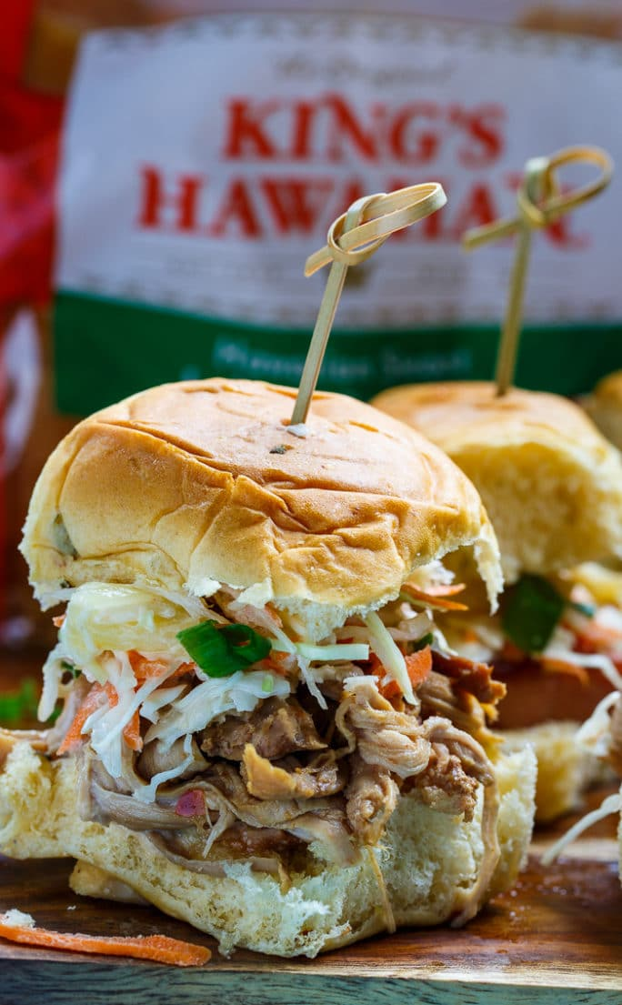 Hawaiian Sliders with Tropical Slaw flavored with pineapple and macadamia nuts.