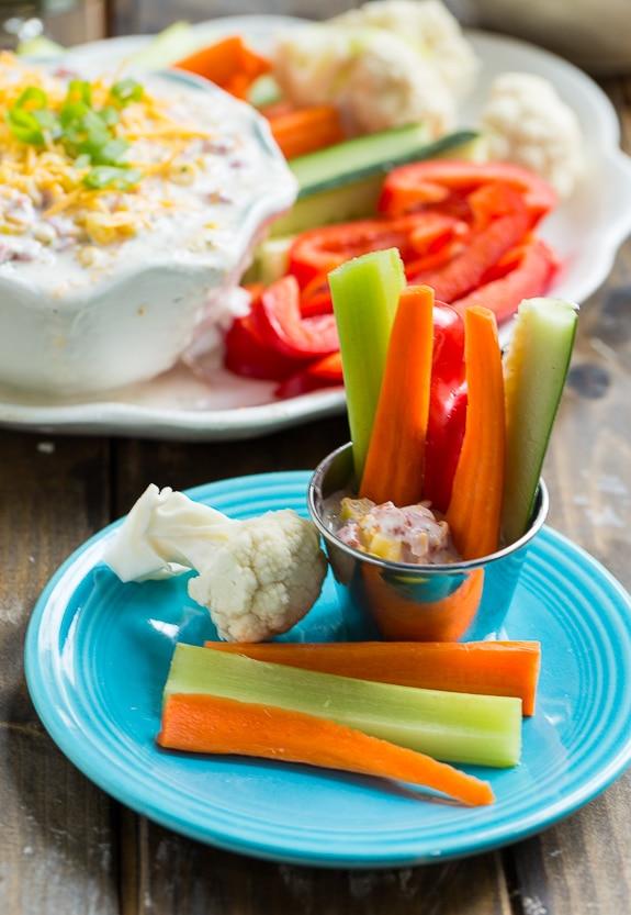 Skinny Fiesta Ranch Dip. Greek yogurt makes this creamy dip high protein and lowfat.