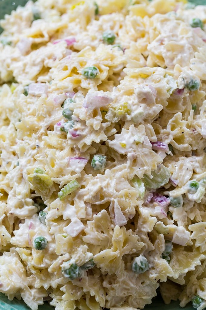 Spicy Horseradish Pasta Salad combines hroseradish and pepperoncini peppers to make a pasta salad with lots of zip.