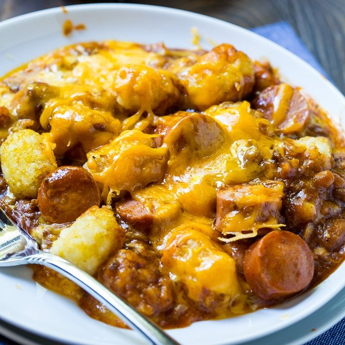Cheesy Hot Dog Tater Tot Casserole
