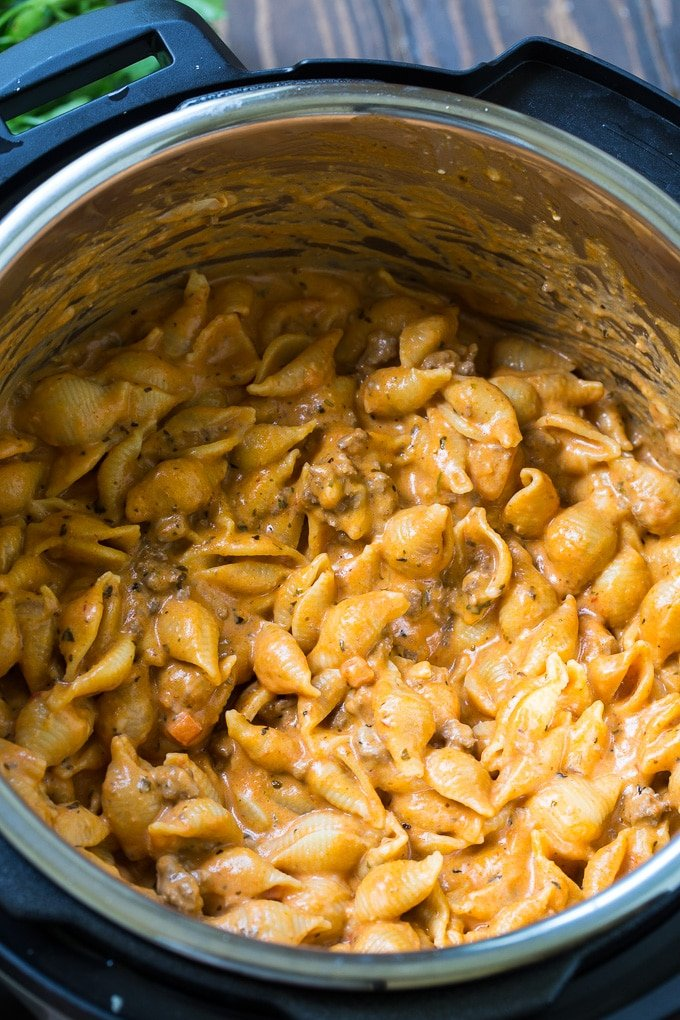 Instant Pot Creamy Shells and Beef is like a delicious homemade hamburger helper