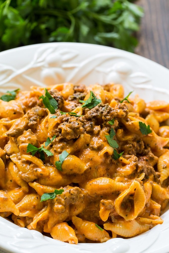Instant Pot Creamy Shells and Beef is so cheesy and good!