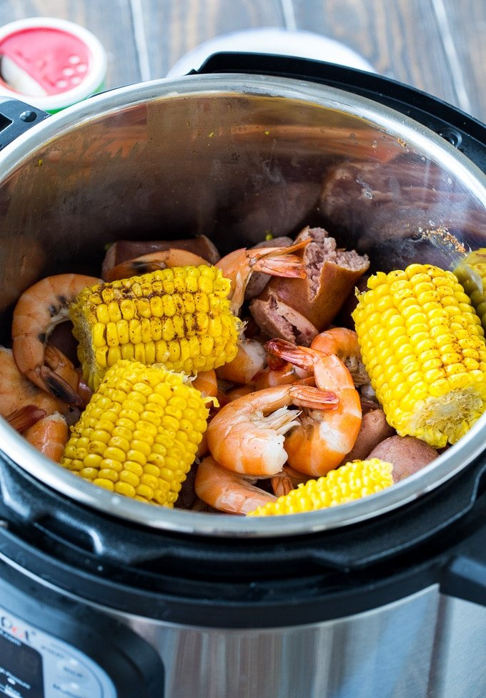 Instant Pot Low Country Boil with potatoes, corn, sausage, and shrimp