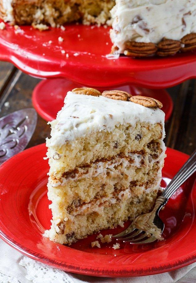 Italian Cream Cake with plenty of coconut and pecans.