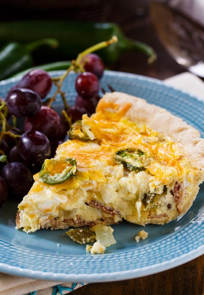 Jalapeno Popper Quiche with bacon and cream cheese.