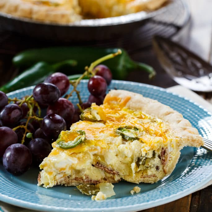 Jalapeno Popper Quiche with bacon and cream cheese is just the quiche ...