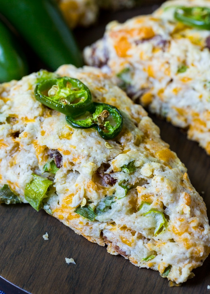Jalapeno Bacon Scones with cheddar cheese