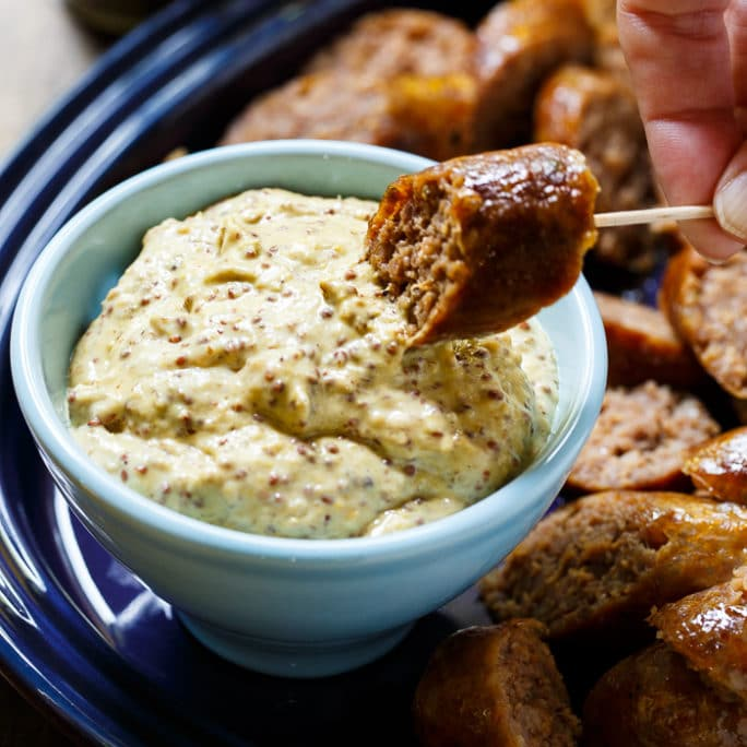 Grilled Johnsonville Sausage with Horseradish Mustard Sauce