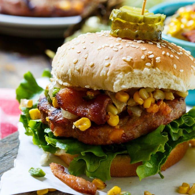 Pork Burgers with Bacon-Corn Saute