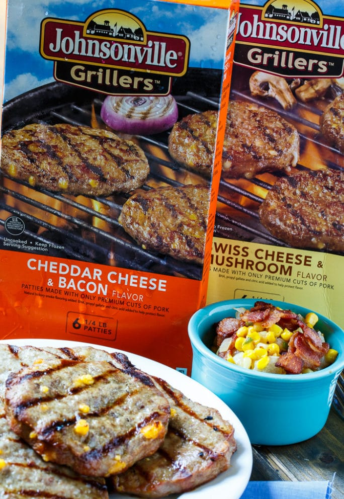 Pork Burgers with Bacon-Corn Saute made with Johnsonville Grillers