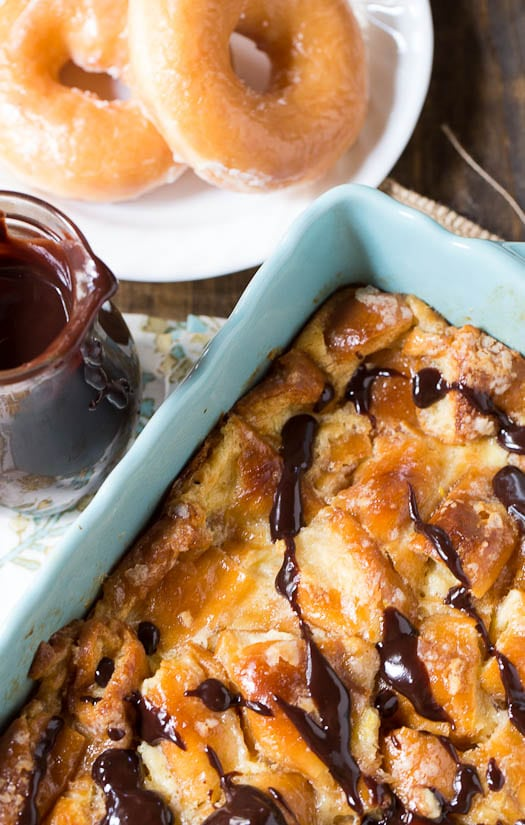 Krispy Kreme Bread Pudding with Chocolate Sauce